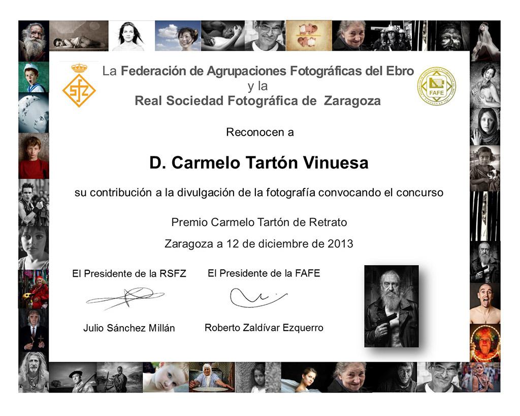 Diploma de reconocimiento a Carmelo Tartón
